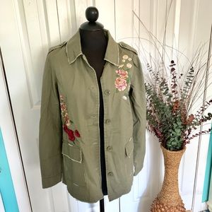 Maurice's | Olive Embroidered Military Jacket